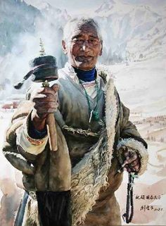 'Faces of Tibet' watercolour portrait by Liu Yungsheng Watercolor Pictures, Watercolor Artists, Watercolor Portraits, Watercolour Painting, Painting & Drawing, Watercolors, Chef D Oeuvre, Figure Painting, Chinese Art