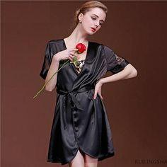 Hot Sale Women's Solid Color Bridesmaid Robes Short Sleeve Satin Microfiber Sleep Lounge Robes Bathrobe Night Robe