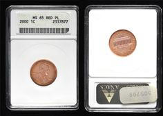 7 -- 2000 Lincoln 1c – ANACS MS-65 Red PL: Slightly prooflike surfaces and a full gem strike are enhanced by the toning developing around the coin's periphery. Wonderful example of a true gem Memorial Cent, with greenish-yellow and magenta accents.