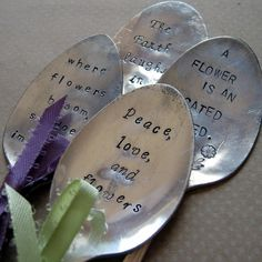 Garden Stampings  vintage spoon garden markers  by JLynnCreations