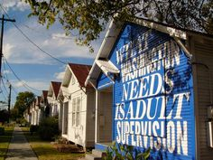 Andrea Bowers's installation, Hope in Hindsight, on view at Project Row Houses in 2010. Photo by Eric Hester, courtesy Project Row Houses.
