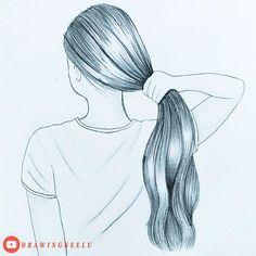 Easy Love Drawings, Pencil Drawings Of Girls, Art Drawings Beautiful, Art Drawings Sketches Simple, Long Hair Drawing, Girl Hair Drawing, Girl Drawing Easy, Drawing Scenery, Watercolor Lettering