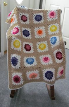 Spring flower granny square lap afghan by theresa1968 on Etsy, $50.00