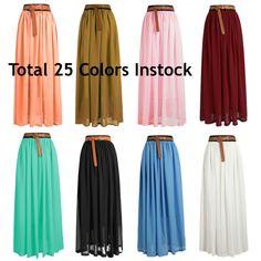 Size L Women Lady Chiffon Pleated Retro Long Maxi Dress Elastic Waist Skirt