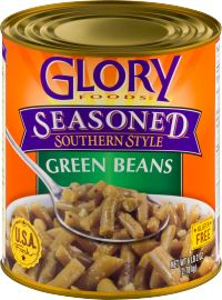 Glory Foods Seasoned Green Beans are slow simmered with onions, garlic and spices in a bacon-flavored broth. Great for your favorite recipe or just heat and eat! Seasoned Green Beans, Southern Style Green Beans, Bacon Flavored, Vegetable Side Dishes, Onions, Garlic, Spices, Favorite Recipes, Seasons