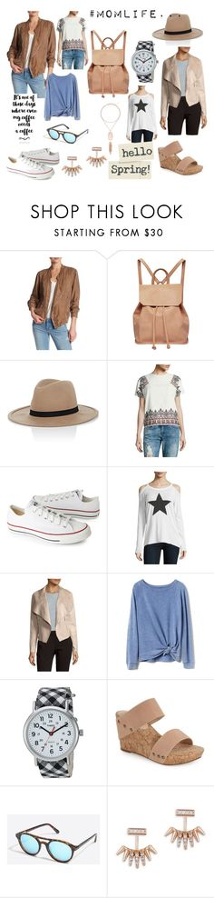 """""""Bekka McDonald Garner Mom life Edit 1"""" by charlotteanndove on Polyvore featuring BLANKNYC, Urban Originals, Hat Attack, Romeo + Juliet Couture, Converse, Chaser, Bagatelle, Gap, Timex and Sole Society"""