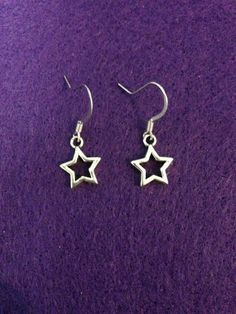 Silver Dangle Star Earrings by CraftyOlBats on Etsy