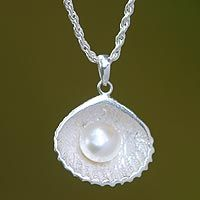 Cultured pearl pendant necklace, 'Oyster Secrets' by NOVICA