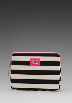 JUICY COUTURE Bar Stripe Neoprene iPad Case in Black - Juicy Couture