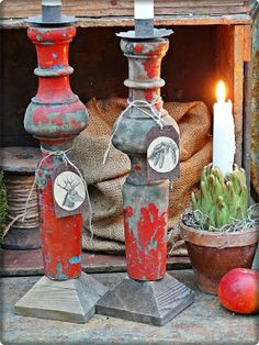 Old table legs turned candle stick holders @ Sofia's Bod