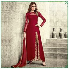 IndoWestern Salwar Suit with embroidery work and prints. Pair it up with leggings or plazo and get ready to steal the Eid pary. Order them online from #Womansvilla