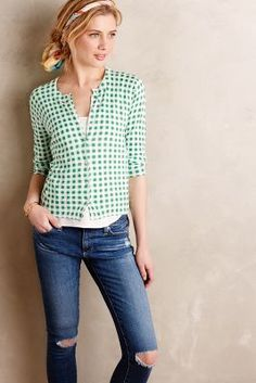 Moth Checked Mint Cardigan #anthrofave