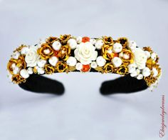 Flower-D-G-Headband-Woman-Topaz-Party-Baroque-Swarovski-24-k-Gold-Pearls-Black