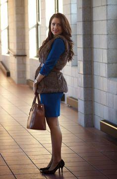 Happy Medley: Blue dress, fur vest, brown tote and leopard heels
