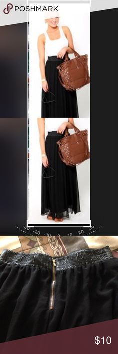 """Summer fashion black cute maxi skirt. Zipper , elastic in back. Faux leather around waist. Waist is approximately 26"""" length approximately 39"""". Great condition, similar to 1st pic. Skirts Maxi"""