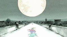 Kaguya hime, kimonos de colores, luna