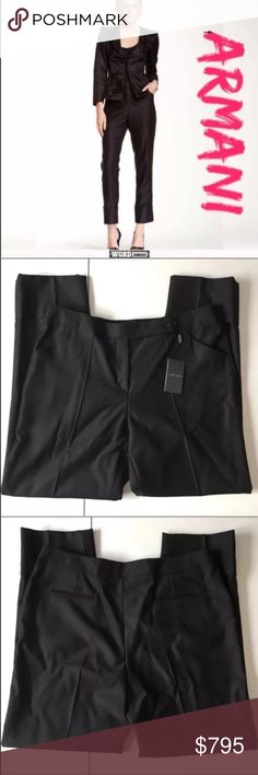 """NEW Giorgio Armani Wool Cropped Trousers Brand: Giorgio Armani    Condition: Brand new with attached tags.   Size: 48 Italian/ 12 US    Color: Black     Pattern: Solid     MSRP: $795    Measurements: 12"""" rise, 30"""" inseam and 18.5"""" across waist    Material: 92% wool, 8% silk.     UPC: 8034148444756    Care: Dry clean.     From the manufacturer: Zip bar with button closure. Front slant pockets. Back welt pockets. Giorgio Armani Pants Ankle & Cropped"""