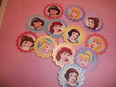 Multi colored Assorted Princesses Cupcake Toppers / 12ct  (could also use on invitation)