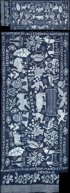 Africa | Stencilled adire cotton, Nigeria, 1900-25. | ©Whitworth Art Gallery, The University of Manchester