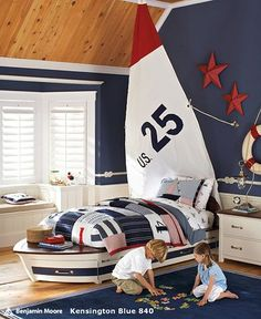 Nautical Bedroom Decor Kids love the idea of using the sailboat sail as a headboard or just as