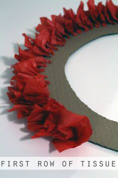 Holiday Tissue Paper Wreath (how to start it)