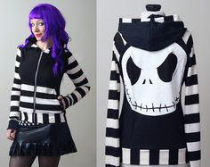stripe Nightmare Before Christmas Jack Skellington hoodie - smarmyclothes