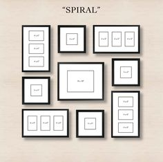 Picture Frames On Wall Layouts. Spiral Gallery Wall Layout Tip Start With Placing The Center Frame And Then Picture Frames On Layouts M Organisation Des Photos, Organization, Collage Mural, Pic Collage On Wall, Family Wall Collage, Collage Frames, Images Murales, Photowall Ideas, Gallery Wall Layout