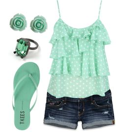 """""""Minty Summer"""" by pusarm ❤ liked on Polyvore"""