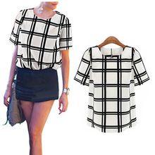 Ol estilo mulheres grade preto e branco impresso camisas mulheres camisas curtas em torno do pescoço batwing das senhoras da luva chiffon camisa FE3087 # M1(China (Mainland))