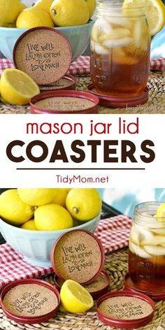 Recycle mason jar lids into coasters!! These DIY Mason Jar Lid Coasters are an easy craft and perfect for a party or cute gift idea! Just follow this easy DIY tutorial to create your very own mason jar cork coasters set at TidyMom.net #masonjarlids #masonjar #craft #diy #corkcrafts
