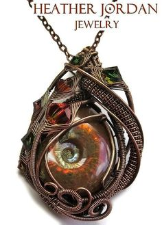 Heather Jordan Jewelry - Opalized Ammonite Fossil Wire-wrapped Pendant In Antiqued Copper With Swarovski Crystal - Fapc11 by Heather Jordan