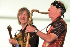 Mike Stern and Bill Evans at the Newport Jazz Festival.