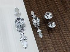 Drawer Knobs Pulls Handles Rhinestone Silver Chrome Clear Dresser Knobs Glass…