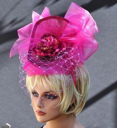Kentucky Derby Hat, Ascot Hat, Fascinator Hat, Pink headpiece, Derby Headpiece, Derby Fascinator