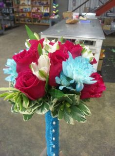 Hot Pink, Teal and White Bridesmaid Bqt