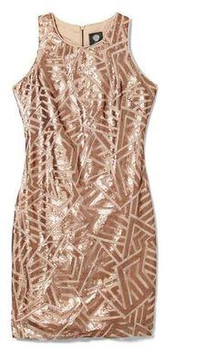 Vince Camuto Metallic Sequin Dress
