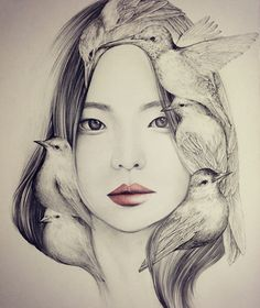 Beautiful portrait illustrations by OkArt . The south Korean artist using the effect of double exposure by merging the eye of the model with that of the bird explores harmony between humans and animals. Art And Illustration, Portrait Illustration, Bird Drawings, Pencil Drawings, Drawing Birds, Portraits Illustrés, Arte Sketchbook, Korean Artist, Art Design