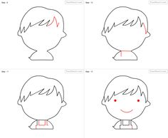 How to draw Kid for kids - slide 3 - Click to enlarge