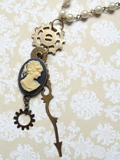 Steampunk Jewelry Choker  Cameo Necklace by AmberIlysSteamcrafts, $25.00