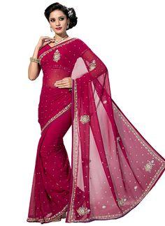 Magenta Embellished Saree