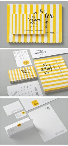 The Oyster Inn // branding - have loved yellow and white stripe since Georgio Beverly Hills caught my eye in my first ever peek at Vogue magazine