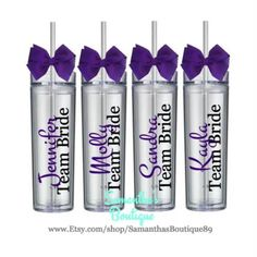Set of 6 Custom Team Bride Skinny Acrylic Tumblers / Bridesmaids Gifts (The Montez Collection)