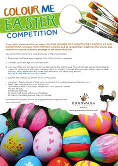 Your child's creative skills can make YOU the winner of 2 nights for 2 people at any Gondwana Collection Namibia lodge. Click here http://www.gondwana-collection.com/blog/index.php/family-time-has-a-new-address-gondwana-collection-namibia/ for more information.   ‪#‎namibia‬ ‪#‎fun‬ ‪#‎Easter‬ ‪#‎Pandutheostrich‬ ‪#‎kids‬ ‪#‎gondwanacollection‬
