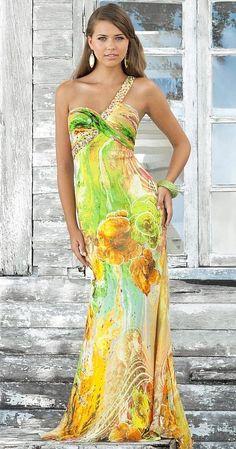 Blush Prom из бисера одно плечо Цветочные печати вечернее платье 9380