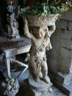 Antique Stone Statute - Love the Flower Basket Garden Urns, Garden Statues, Garden Sculpture, Garden Planters, Concrete Statues, Concrete Garden, Concrete Planters, Ikebana, Design Rustique