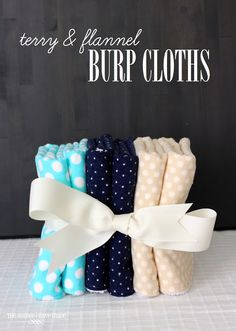 terry and flannel burp cloths - reversible!