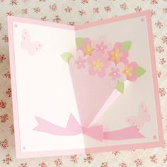 大切な人に贈りたい かわいい花束のお祝いポップアップカードの作り方(メッセージカード) | ぬくもり