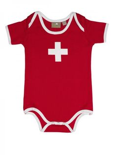 Baby-Body Swiss Cross has a top quality and is one of the most popular Bodys in our shop. It looks very cute with a baby. Whether as a gift or for your own child very suitable.