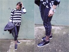 Monochrome and Lace up Leather Pants