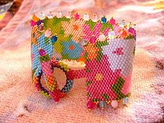 Flowers & colors (marinabead) Tags: flower fleur beads jewelry bijoux bracelet peyote perles rocaille delicas rocailles